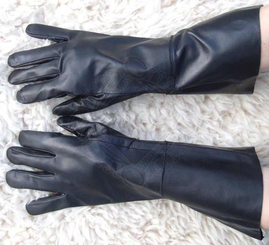 98c256c31e5 +1 další. Kožené rukavice z černé kozinky