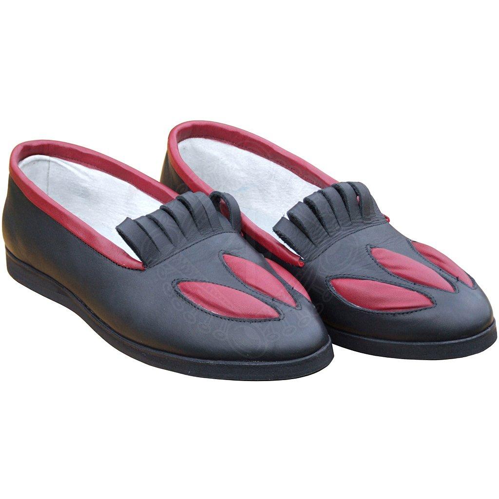 Kožené dámské i pánské boty černé s červeným zdobením +3 další f949a4aa3f